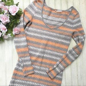 Free People Striped Sweater Nubby Knit Orange Gray